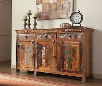 ARTSY & RUSTIC RECLAIMED WOOD FINISH THREE DOOR CABINET CHEST