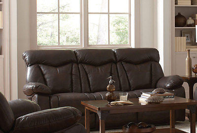CASUAL BROWN LEATHERETTE RECLINING MOTION SOFA LIVING ROOM FURNITURE