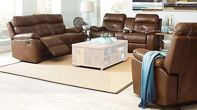 CLASSY BROWN LEATHERETTE RECLINING MOTION SOFA & LOVESEAT FURNITURE SET