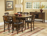 7 PC RUSTIC COUNTER HEIGHT BURNISHED OAK FINISH TABLE & CHAIRS DINING SET