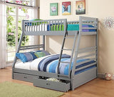 GRAY GREY FINISH TWIN OVER FULL YOUTH BUNK BED STORAGE BEDROOM FURNITURE SET