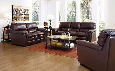 CAPPUCCINO BROWN TOP GRAIN & LEATHER MATCH SOFA & LOVESEAT FURNITURE SET