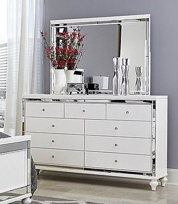 Glitzy 4 Pc White Mirrored Queen Bed N S Dresser Mirror Bedroom