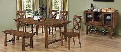 RUSTIC INDUSTRIAL PECAN WOOD DINING TABLE CHAIRS & BENCH FURNITURE 6 PC SET