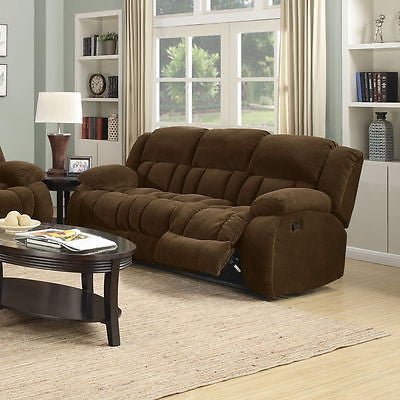 COZY PLUSH BROWN TEXTURED VELVET RECLINING MOTION SOFA LIVING ROOM FURNITURE