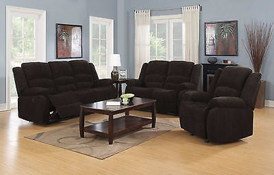 CASUAL DARK BROWN CHENILLE RECLINING MOTION SOFA & LOVE SEAT FURNITURE SET