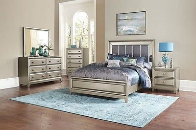 GLAMOROUS 4 PC GRAY MIRRORED QUEEN BED NS DRESSER MIRROR BEDROOM FURNITURE SET