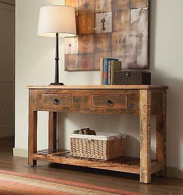 ARTSY RUSTIC RECLAIMED WOOD CONSOLE TABLE FURNITURE