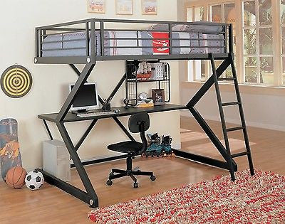 MODERN METAL FULL LOFT BED & WORKSTATION BEDROOM FURNITURE SET