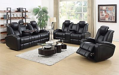 BLACK LEATHERETTE POWER RECLINING SOFA & LOVESEAT W/ LIGHTS & USB FURNITURE SET