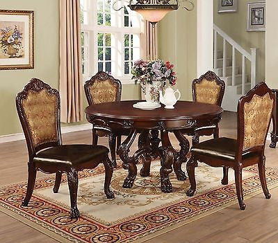 TRADITIONAL EUROPEAN STYLE CHERRY WOOD DINING TABLE & CHAIRS FURNITURE 5 PC SET