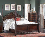 BEAUTIFUL 5 PC BURL INLAY POSTER KING BED NS DRESSER MIRROR CHEST FURNITURE SET