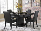MODERN 5 PC BLACK PEDASTAL DINING TABLE & VINYL CHAIRS CASUAL FURNITURE SET