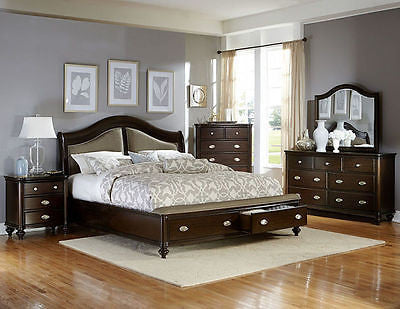 4 PC CONTEMPORARY DARK CHERRY FINISH KING BED DRESSER MIRROR BEDROOM SET