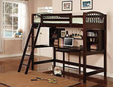 CAPPUCCINO FINISH WOOD LOFT YOUTH BUNK BED & DESK WORKSTATION BEDROOM FURNITURE