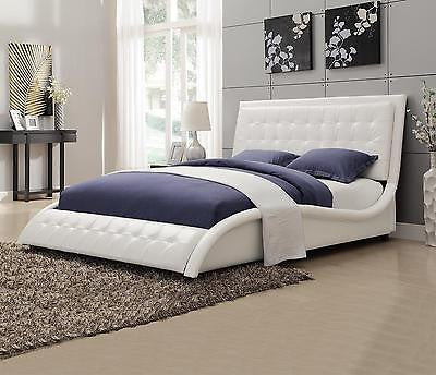 SLEEK MODERN WHITE LEATHERETTE QUEEN BED BEDROOM FURNITURE