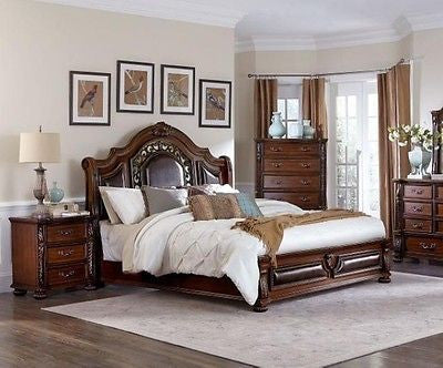 CLASSIC CARVED BROWN CHERRY FINISH QUEEN SLEIGH BED
