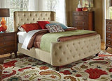 STYLISH TAN BUTTON TUFTED VELVET MICROFIBER KING BED FURNITURE