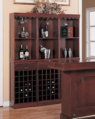 THREE (3) SECTION WINE LIQUOR BOTTLE WALL STORAGE UNIT BAR FURNITURE SET
