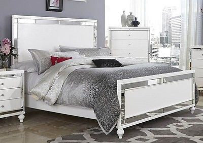 GLITZY 4 PC WHITE MIRRORED QUEEN BED N/S DRESSER & MIRROR BEDROOM ...