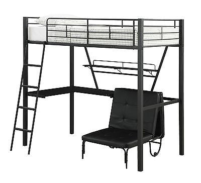 MODERN BLACK METAL TWIN LOFT BED & WORKSTATION BEDROOM FURNITURE SET