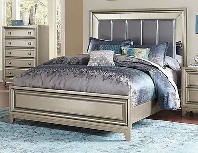 GLAMOROUS GRAY GREY MIRRORED KING BED BEDROOM FURNITURE