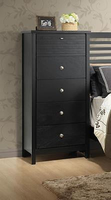 SLATTED BLACK QUEEN BED & TWO (2) STORAGE CHESTS BEDROOM FURNITURE