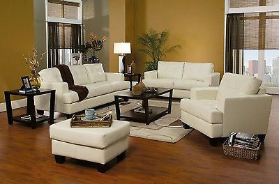 CREAM BONDED LEATHER SOFA  LOVE SEAT & CHAIR LIVING ROOM FURNITURE SET