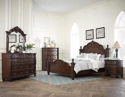STATELY 4 PIECE KING BED NIGHTSTAND DRESSER & MIRROR BEDROOM FURNITURE SET