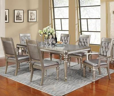 GLAMOROUS 7 PC METALLIC PLATINUM WOOD DINING TABLE & CHAIRS FURNITURE SET