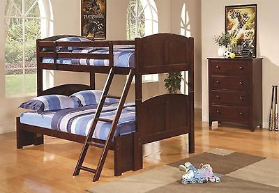 MERLOT FINISH TWIN OVER FULL YOUTH BUNK BED BEDROOM FURNITURE SET