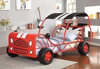 COOL RED RACE CAR SHAPED YOUTH TWIN BED WITH WHEELS