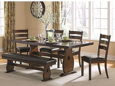 VINTAGE CINNAMON WOOD FINISH LEATHERETTE DINING TABLE CHAIRS BENCH FURNITURE SET