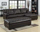 LUXURIOUS BONDED LEATHER BROWN SOFA CHAISE SECTIONAL SET