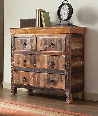 ARTSY & RUSTIC RECLAIMED WOOD FINISH 4 DRAWER STORAGE CABINET CHEST FURNITURE
