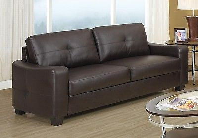 MODERN BROWN BONDED LEATHER SOFA LIVING ROOM FURNITURE