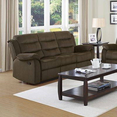 STYLISH TWO TONE CHOCOLATE VELVET RECLINING MOTION SOFA LIVING ROOM FURNITURE