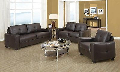 MODERN 3 PC BROWN BONDED LEATHER SOFA, LOVE SEAT & CHAIR LIVING ROOM FURNITURE