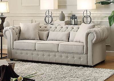 BEAUTIFUL BEIGE BUTTON TUFTED SOFA COUCH LIVING ROOM FURNITURE