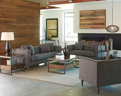 GRAY GREY TWEED LIKE MENSWEAR MATERIAL SOFA LOVE SEAT LIVING ROOM FURNITURE SET