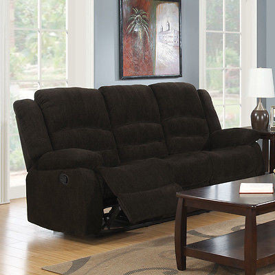 CASUAL DARK BROWN CHENILLE RECLINING MOTION SOFA LIVING ROOM FURNITURE