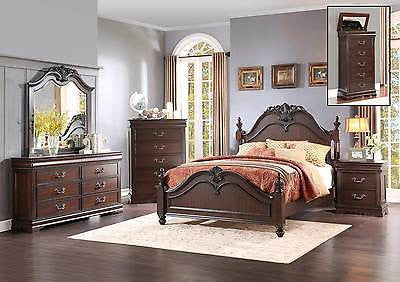 4 PC LOUISE PHILLIPE STYLE CHERRY FINISH QUEEN BED DRESSER MIRROR BEDROOM SET
