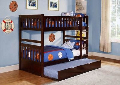 CHERRY FINISH YOUTH TWIN BUNK BED WITH TRUNDLE BEDROOM FURNITURE SET