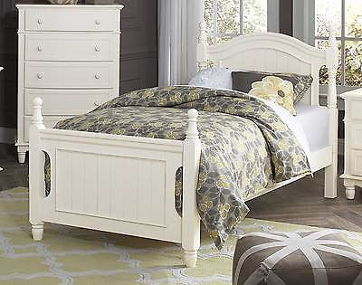 LOVELY CLASSIC WHITE YOUTH'S TWIN BED BEDROOM FURNITURE