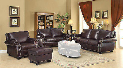 CLASSY GENUINE LEATHER NAILHEAD ACCENT SOFA & LOVESEAT FURNITURE SET