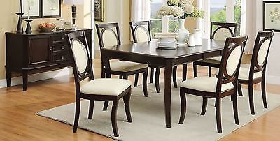 MODERN NEO DECO STYLE CHERRY BROWN WOOD DINING TABLE & CHAIRS FURNITURE SET