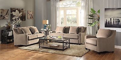 PLUSH TAUPE MICROVELVET SOFA & LOVE SEAT LIVING ROOM FURNITURE SET