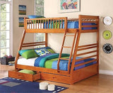 CAPPUCCINO FINISH TWIN OVER FULL YOUTH BUNK BED STORAGE BEDROOM FURNITURE SET
