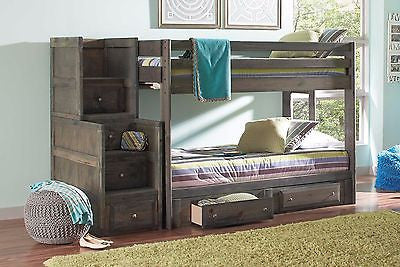 PINE GUN SMOKE METAL FINISH TWIN BUNK BED STAIRWAY CHEST UNDER BED STORAGE SET