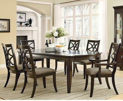 BEAUTIFUL 7 PC ESPRESSO LATTICE DESIGN WOOD TABLE & CHAIRS DINING FURNITURE SET